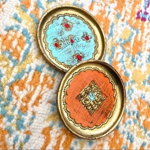 two small vintage wooden jewelry dish